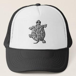 Black White Paisley Climbing Turtle Trucker Hat