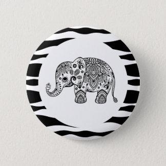 Black & White Paisley Elephant Cover Zebra Stripes Button