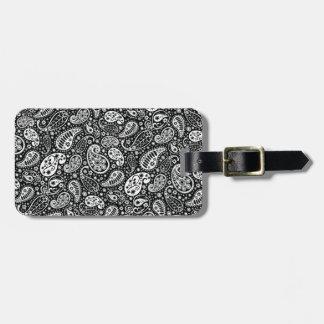 Black & White Paisley Floral Bag Tag