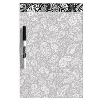Black & White Paisley Floral Dry Erase Board
