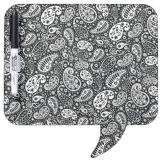 Black & White Paisley Floral Dry-Erase Board