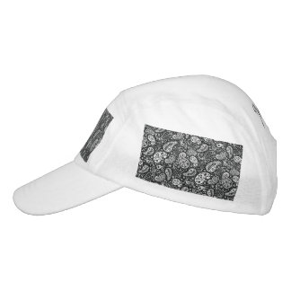 Black & White Paisley Floral Headsweats Hat