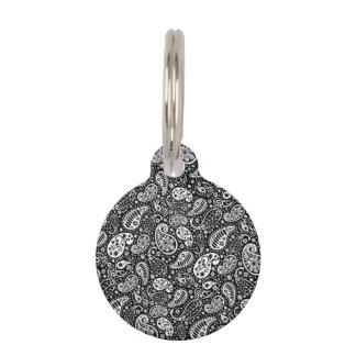 Black & White Paisley Floral Pet Tag