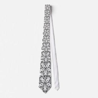Black White Paisley Look Star Design Neck Tie