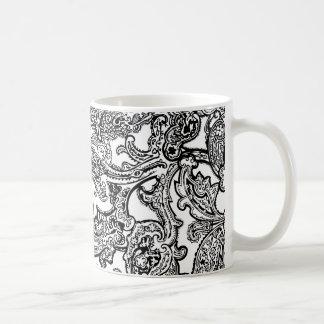 black white paisley mug