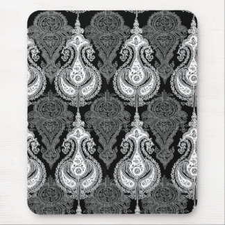 Black White paisley pattern Mouse Pad