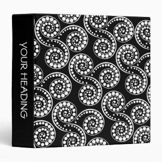 """Black white paisley polka pattern 1.5"""" vinyl binders"""