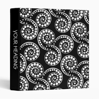 Black white paisley polka pattern 3 ring binders