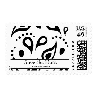 Black & White Paisley Save the Date Postage