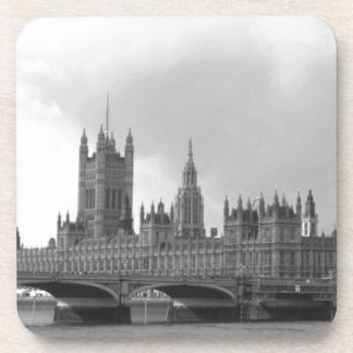 Black White Palace of Westminster Beverage Coaster