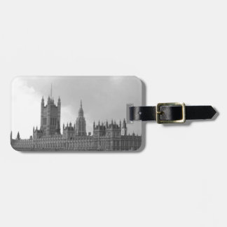 Black White Palace of Westminster Luggage Tag