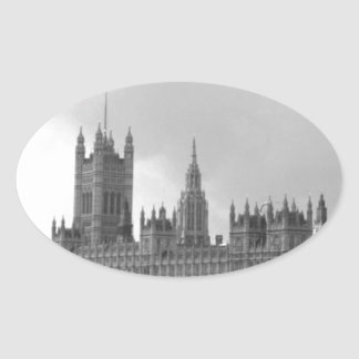 Black White Palace of Westminster Oval Sticker