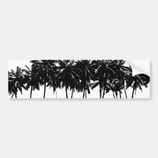 Black White Palm Trees Silhouette Bumper Sticker