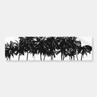 Black White Palm Trees Silhouette Car Bumper Sticker
