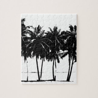 Black White Palm Trees Silhouette Jigsaw Puzzle