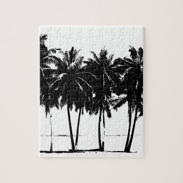 Black White Palm Trees Silhouette Jigsaw Puzzle Zazzle Com