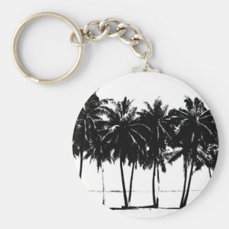 Black White Palm Trees Silhouette Basic Round Button Keychain