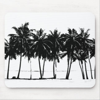 Black White Palm Trees Silhouette Mouse Pad