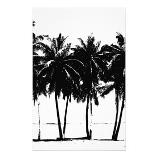 Black White Palm Trees Silhouette Stationery