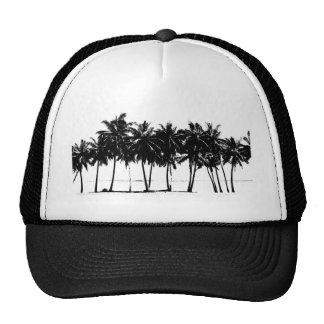 Black White Palm Trees Silhouette Trucker Hat