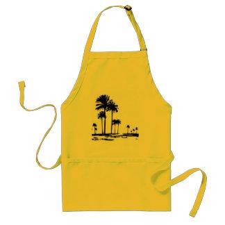 black white palms adult apron