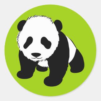 BLACK WHITE PANDA BEAR ENVIRONMENT ANIMALS WILD CLASSIC ROUND STICKER