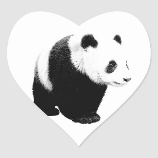 Black & White Panda Heart Sticker