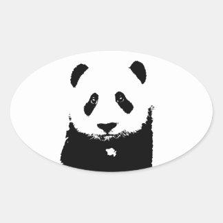 Black & White Panda Oval Sticker