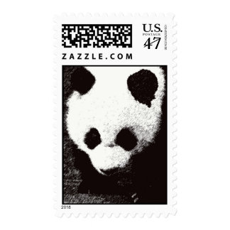 Black & White Panda Postage Stamps