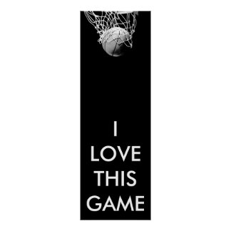 Black & White Panoramic Basketball Poster