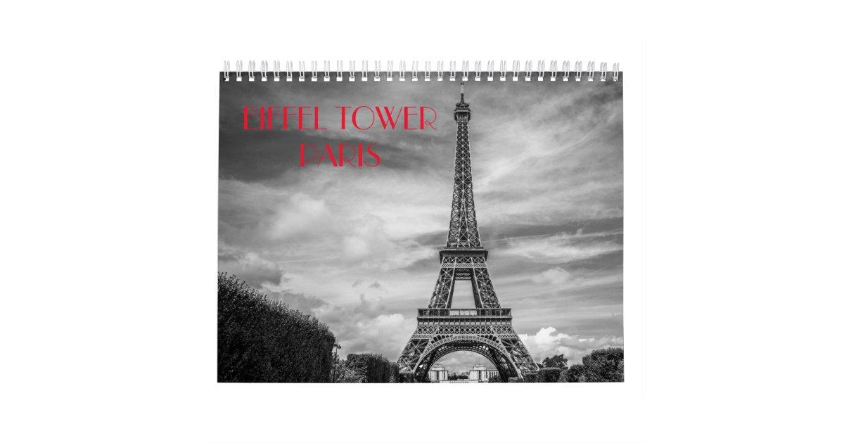 Black White Paris Eiffel Tower Calendar Zazzle Com