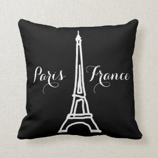 black & white Paris Eiffel Tower nice Throw Pillow