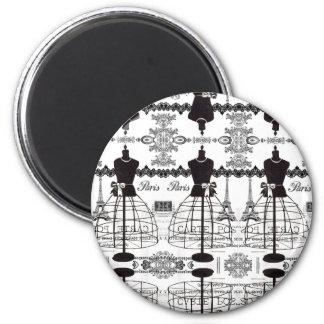 Black White Paris Fashion Mannequin 2 Inch Round Magnet