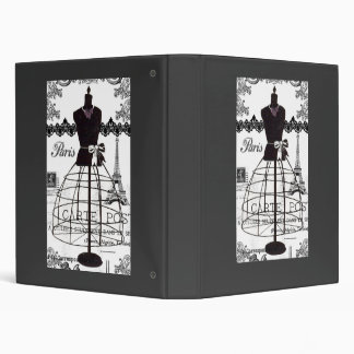 Black White Paris Fashion Mannequin 3 Ring Binder
