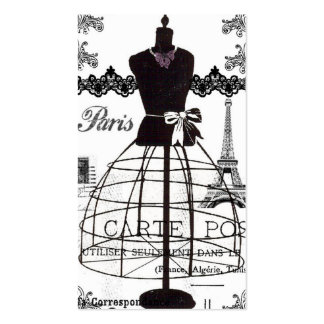 Black White Paris Fashion Mannequin Double-Sided Standard Business Cards (Pack Of 100)