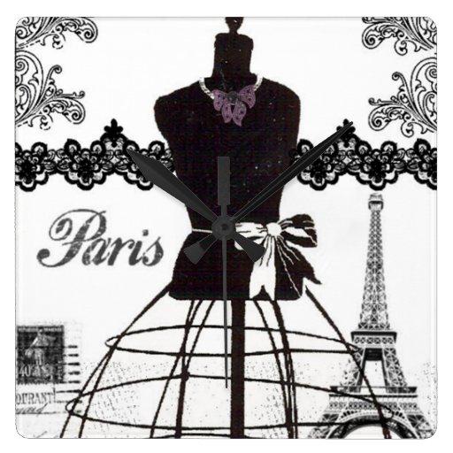 Black White Paris Fashion Mannequin Clock