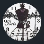 "Black White Paris Fashion Mannequin Large Clock<br><div class=""desc"">A vintage black and white french dressmaker mannequin with Eiffel Tower and black lace. A vintage style design on white background. The perfect unique gift idea for her on any occasion.</div>"