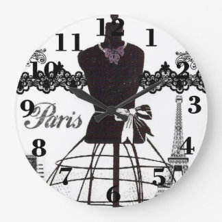 Black White Paris Fashion Mannequin Large Clock