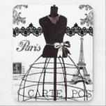 "Black White Paris Fashion Mannequin Mouse Pad<br><div class=""desc"">A vintage black and white french dressmaker mannequin with Eiffel Tower and black lace. A vintage style design on white background. The perfect unique gift idea for her on any occasion.</div>"