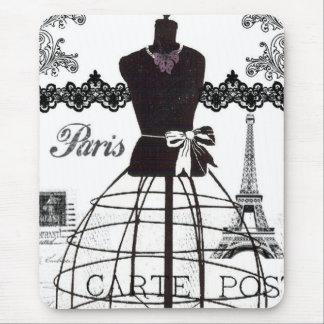 Black White Paris Fashion Mannequin Mouse Pad
