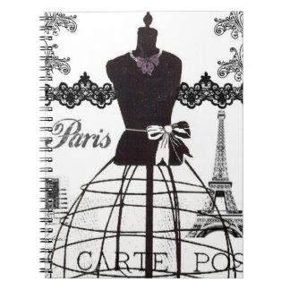 Black White Paris Fashion Mannequin Note Books