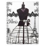 Black White Paris Fashion Mannequin Spiral Notebook