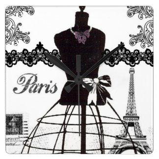 Black White Paris Fashion Mannequin Square Wall Clock