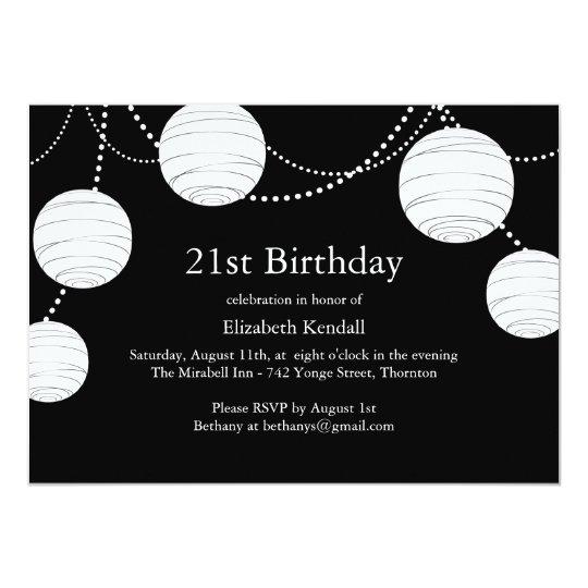 black white party lantern 21st birthday invite zazzle com