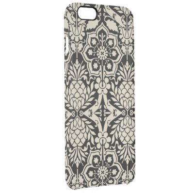 Black & White Pattern Damask Clear iPhone 6 Plus Case