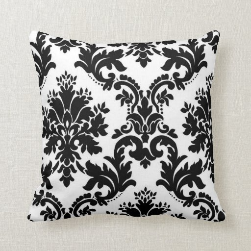 Black And White Patterned Throw Pillows : black white pattern damask throw pillow Zazzle
