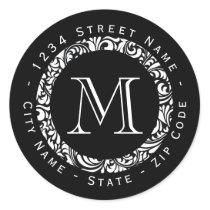 Black&White Pattern Monogram Return Address Label