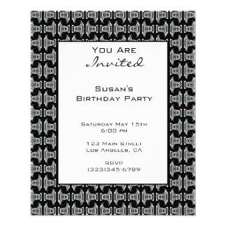 Black White Pattern Party Invite Flyer
