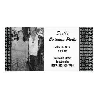 Black White Pattern Party Invite Picture Card
