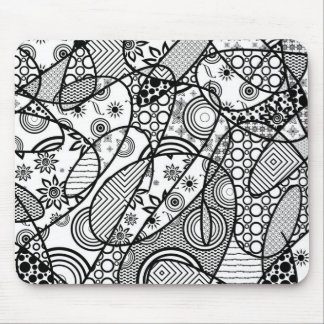 Black & White Pattern Patchwork 01 Mouse Pad